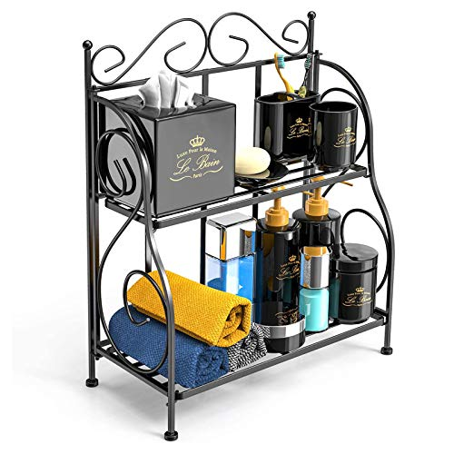 Bathroom Countertop Organizer, F-color 2 Tier Collapsible Kitchen Counter Spice Rack Jars Bottle...