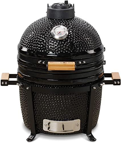 "KAMADO BONO Ceramic BBQ, Kamado BBQ Ceramic Grill I Kamado Barbecue I Ceramic Heat Deflector for Grilling, Cooking & Smoking I 15"" Minimo Model Black Portable Barbecue Grill"