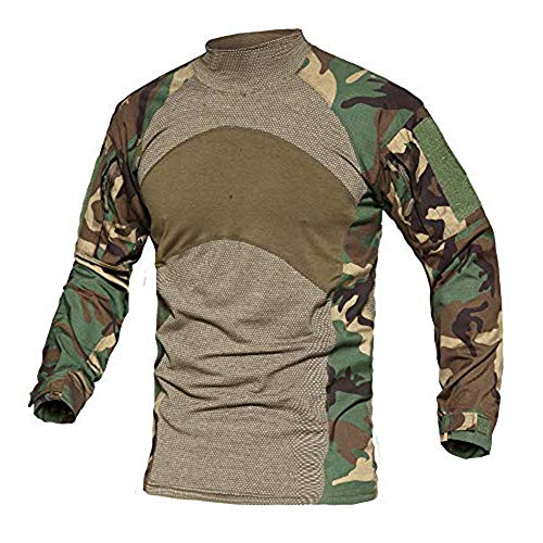 MAGCOMSEN Herren Camouflage Shirt US Army Sweatshirt Outdoor Military Hemd Herren Freizeithemd Oberteil Tactical Shirt Atmungsaktiv Arbeitsshirt mit Klettfläche Woodland L