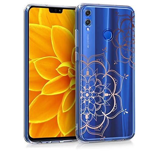 kwmobile Huawei Honor 8X Hülle - Handyhülle für Huawei Honor 8X - Handy Case in Blumen Zwillinge Design Rosegold Transparent