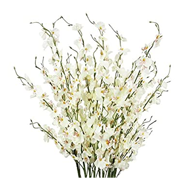 TYEERDEC Artificial Orchids Flowers, 12 Pcs Silk Fake Orchids Flowers in Bulk Orquideas Flowers Artificial for Indoor Outdoor Wedding Home Office Decoration Festive Furnishing Milky White
