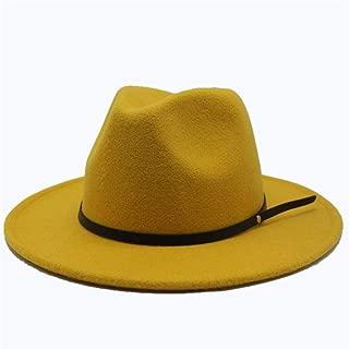 SGJFZD Fashion Women's Men's Wool Fedora Hat Wide Brim Church Hat Autumn Jazz Hat Fascinator Travel Hat Casual Wild Hat Size 56-58CM (Color : Yellow, Size : 56-58)