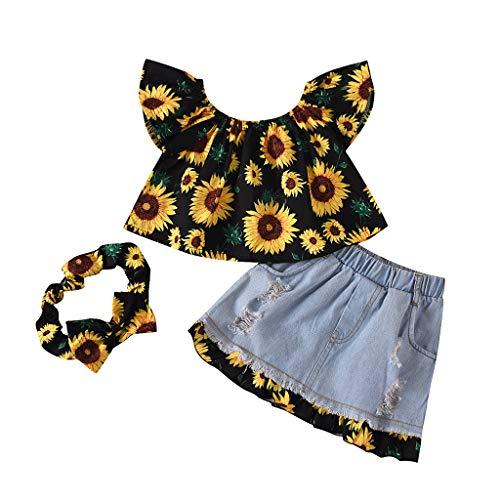 sunnymi 0-3 Jahre Kleinkind Baby Kinder Mädchen Schulterfrei Sonnenblumen Jeansrock Outfits Set