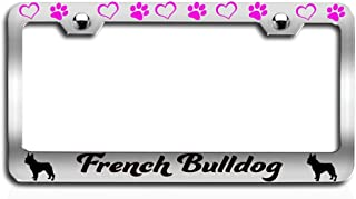 Lovable Petz - French Bulldog Dogs Pets Ch Steel License Plate Frame, License Tag Holder
