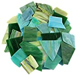 Lanyani Green Mixed Stained Glass Scrap Pieces Sheets, Glass Mosaic Tiles for Art Crafts, 35oz Value Pack,Assorted Colors and Textures