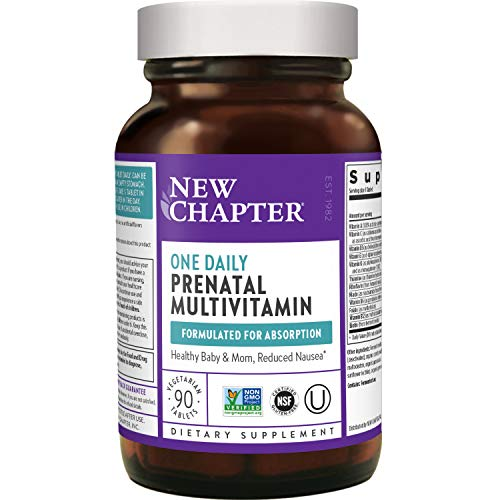 New Chapter Prenatal Vitamins Prenatal Multivitamin with Methylfolate + Choline for Healthy Mom Baby, One Daily, 90 Count