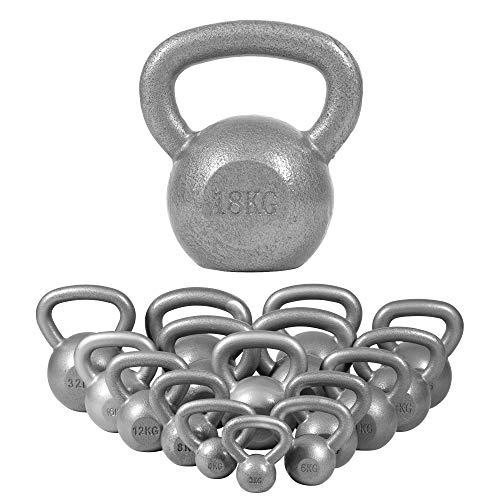 GORILLA SPORTS® Kettlebell 2-32 kg Gusseisen Einzeln/Set – Fitness-Kugelhantel in 17 Gewichtsvarianten Gold/Silber/Schwarz (16 KG, Silber)
