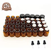Fomei 40 Packs Oil Bottles for Essential Oils 1 ml (1/4 Dram) Amber Glass Vials Bottles, with Orifice Reducers and Black Caps, with 2 Free Glass Transfer Eye droppers