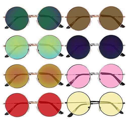 HAKOTOM 8pcs Gafas Sol Disfraz Accesorio Hippies de Marco Metálico Lente Colorido Amarillo Estilo Vintage Diseño Retro para Mujeres Hombres en Carnival Fiestas Baile de Disfraz Accesorio de Moda