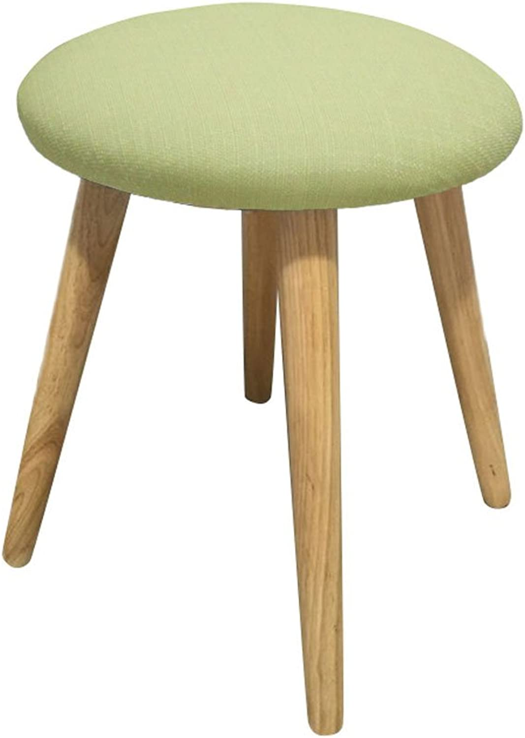 Japanese Small Stool Small Bench Fashion Stool Simple Change shoes Stool Solid Wood Stool Cloth Dining Stool Dressing Stool Low Stool 35 × 42 cm (color   Green)