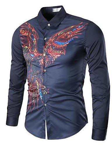 HAN-NMC MEN'S Casual/Simple quotidienne Printemps Automne Shirt,Animal Impression Imprimer Col classique manches longues coton autres,XL,bleu marine