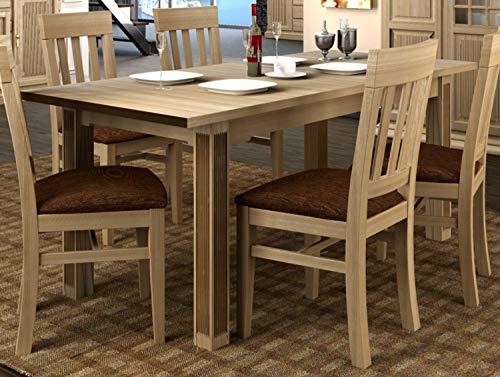 Casamia - Tavolo da Pranzo con Piano Fisso da 180 cm e 2 prolunghe in Legno di Pino Massiccio, Stile...