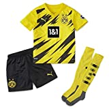 Puma Mini Kit 1a Equipación 20/21 Replica Borussia Dortmund BVB Home Camiseta, Unisex niños, Cyber Yellow Black, 98