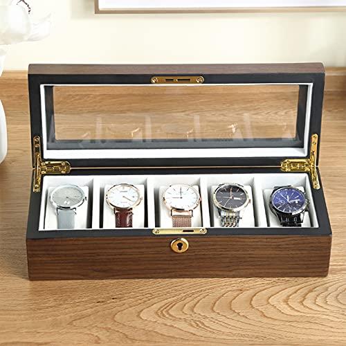 JIAGOA Caja De Reloj De Madera, Vitrina De Reloj De Madera con Tapa De Vidrio, Organizador De Relojes, Caja De Almacenamiento De Joyas (Caja De Reloj De 5 Ranuras)