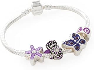 Liberty Charms Childrens 'Purple Fairy' Silver Plated Charm/Bead Bracelet
