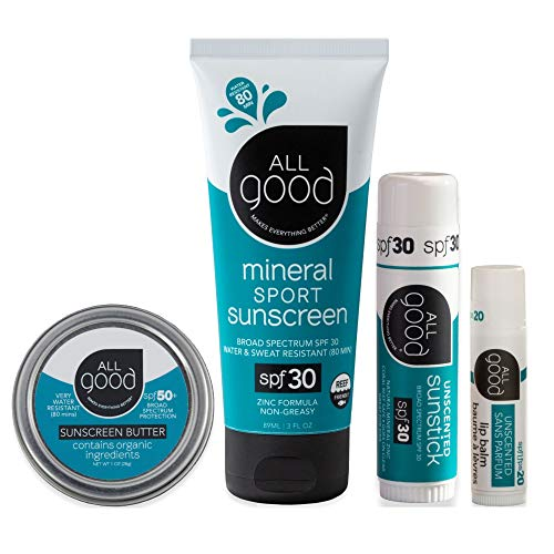 All Good Mineral Sun Care Set - SPF Lip Balm, Sunscreen Lotion & Butter Stick, & Face/Nose/Ear Sunstick - Water Resistant & Coral Reef Friendly (Unscented)