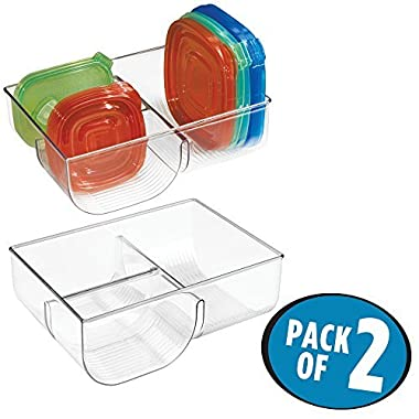mDesign Food Storage Lid Organizer for Kitchen Cabinet, Pantry - Pack of 2, Clear