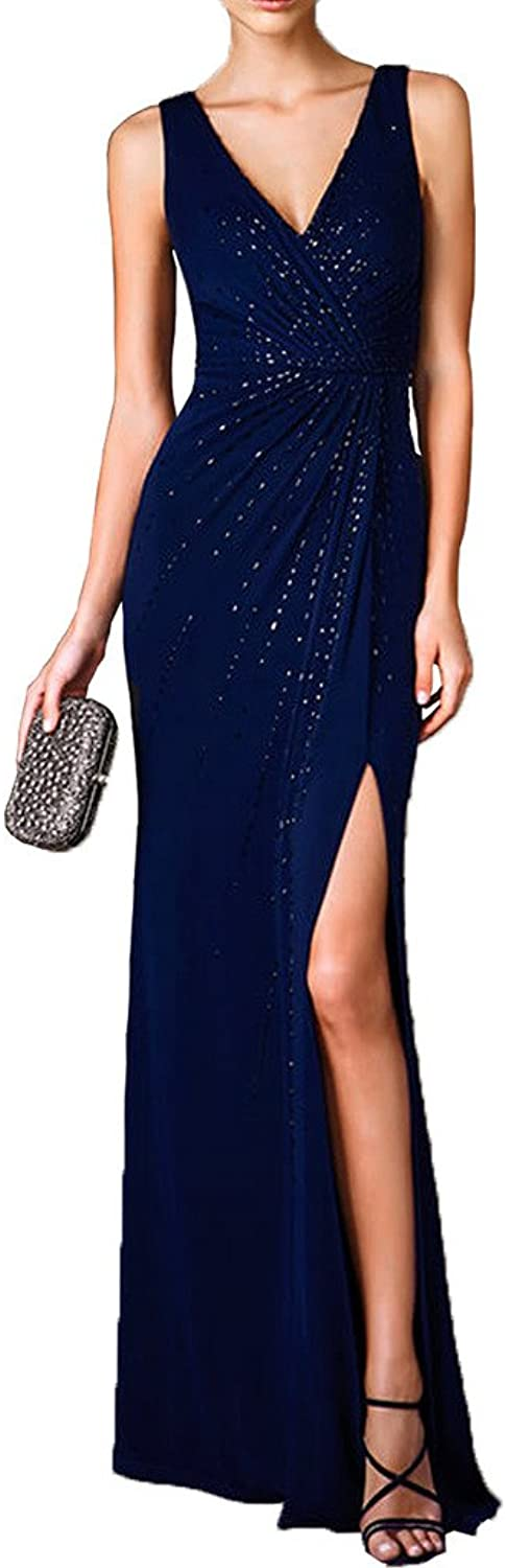 MILANO BRIDE Classy Double Vneck Slit Beads Sheath Evening Dress Prom Gown