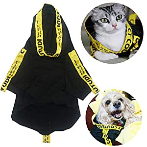 COUTUDI Wrod Print Yellow Stripe Black Hoodie for Pet Dogs Cat Shirts Puppy Casual Pullover Outfits Dog Clothes for All Breed Dogs