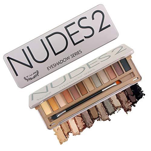 Allbestaye 12 Farben Lidschatten Palette mit Make-up Pinsel Naked Shimmer Matt Wasserfest Grau