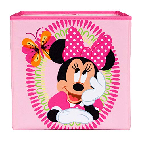 Everything Mary Minnie Mouse Pink Collapsible Storage Bin by Disney - Cube Organizer for Closet, Kids Bedroom Box, Nursery Chest - Foldable Home Decor Basket Container with Strong Handles and Design