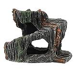 VILLCASE Terraza de Tortuga- Reptiles con Plataforma de Escalada Resina Oculta Cueva Acuario Ornamental Tanque Decoraciones Terraza Adorno