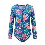 HowJoJo Girls One Piece Swimsuits Long Sleeve Rash Guard Shirt Zipper Front Bathing Suits for Girls 6T/Size 6