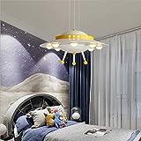 WETERS Regulable Lámpara Moderna Habitación De Los Niños LED UFO, con Mando A Distancia Dibujos Animados Niños Dormitorio Lámpara Araña De Jardín De Infancia, Amarillo, Ø40cm