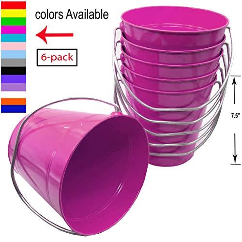 "Italia 6-Pack Metal Bucket color Magenta Size 7.5 x 7.5"""
