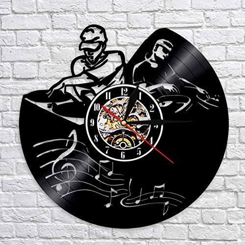 Buzdao Dj Playing The Music Wall Clock Dj Player Silhouette Vinyl Record Clocks Handmade Art Decorative Clocks Best Gift for Dj