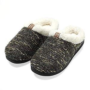 QFYD FDEYL Knit Memory Foam Slipper,Home w/Anti-Slip Sole winter warm cotton velvet slippers, breathable Cozy Slippers rubber sole -D_L,Warm Winter Memory Foam Slippers