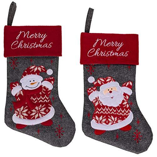 Kamaca 2er Set Nikolausstrumpf Weihnachtsstrumpf Nikolaussocke Weihnachtssocke aus Filz zum Befüllen und Aufhängen Advent Weihnachten (41 x 25 cm, 2er Set Weihnachtsmann + Schneemann)