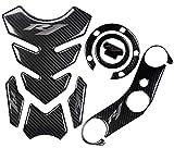 REVSOSTAR 5D Real Carbon, Motorcycle Gas Tank Protector, Grey Tank Pad Sticker, Tank Cap, Fuel Cap Decal, Triple Tree Front End Upper for R1, 3 Pcs Per Set