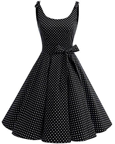 Bbonlinedress Donna Vestiti Vestito 1950 Festa Cocktail Vintage Rockabilly Black White DOT 3XL
