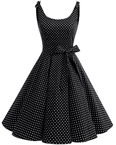 Bbonlinedress 1950er Vintage Polka Dots Pinup Retro Rockabilly Kleid Cocktailkleider Black White Dot M