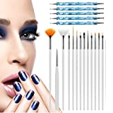 Pinceles para Uñas, Deesospro 20pcs Manicure Pedicure Beauty Painting Polish Brush and Dotting Pen Tool Set for Natural, False, Acrylic and Gel Nails