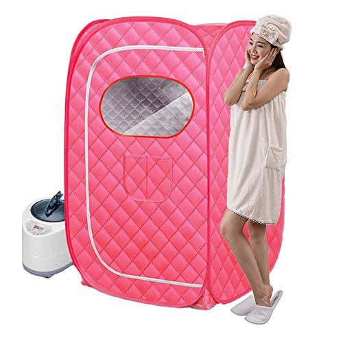 WANXJM Saunaraum, Dampfbadebox für Haushaltsfässer, Ganzkörper-Dampftasche mit Fernbedienung und Bademantel für untergesunde Menschen,Rosa,Single