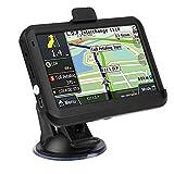 Navegador GPS para coche de 5 pulgadas, Sistema universal de navegación GPS de pantalla táctil, 256MB 8GB con clip trasero, Mapas de por vida/Tráfico en vivo/Voz automática