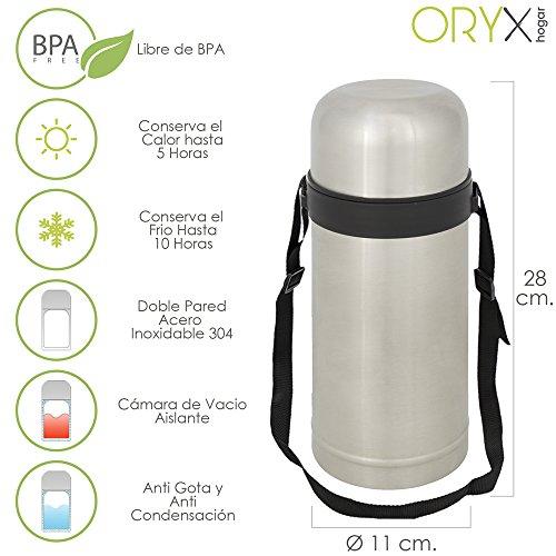 Oryx 5075025 Thermos Solido e Liquido, in acciaio inox, a prova di goccia, 1 litro