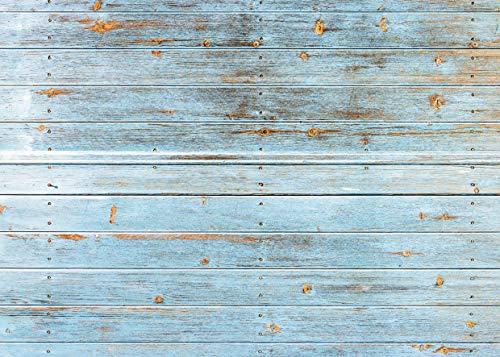 AIIKES 2.1Mx1.5M/7x5piedi Vinile Sfondo Fotografico Blu Legna Pavimento Fondale Bambino Neonato Compleanno Foto di Sfondo per Foto Studio Puntelli Festa Decorazione Sfondo 11-427