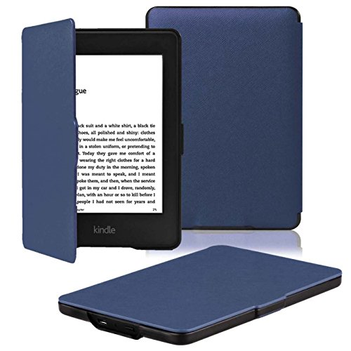 OMOTON Kindle Paperwhite Case Cover - The Thinnest Lightest PU Leather Smart Cover Kindle Paperwhite fits All Paperwhite Generations Prior to 2018 (Will not fit All New Paperwhite 10th Gen),Navy Blue