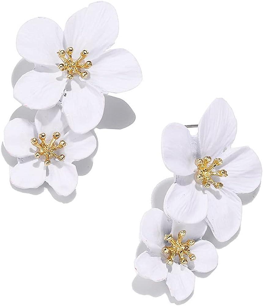 Large Metal Double Flower Matt Earring Chic Statement Dangle Drop Wedding Earrings For Women