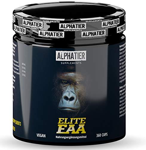 EAA KAPSELN - 360 Mega Caps a 750mg - hochdosiert - 8 essentielle Aminosäuren - ALPHATIER Elite EAAs Eiweißkapseln ohne Magnesiumstearat - Amino-Kapseln - Fitness Supplement