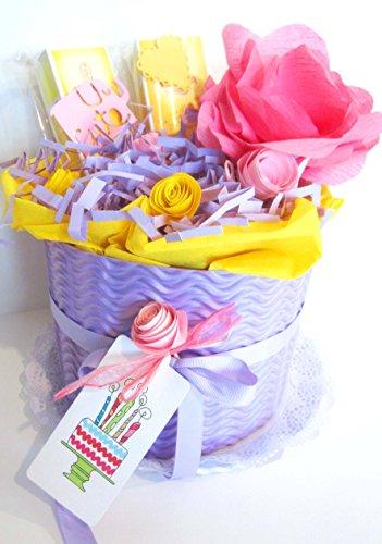 Tarta de Pañales DODOT | Modelo MALVARROSA con Cremas WELEDA | Baby Shower Gift Idea | Tonos Púpuras | Para Niñas
