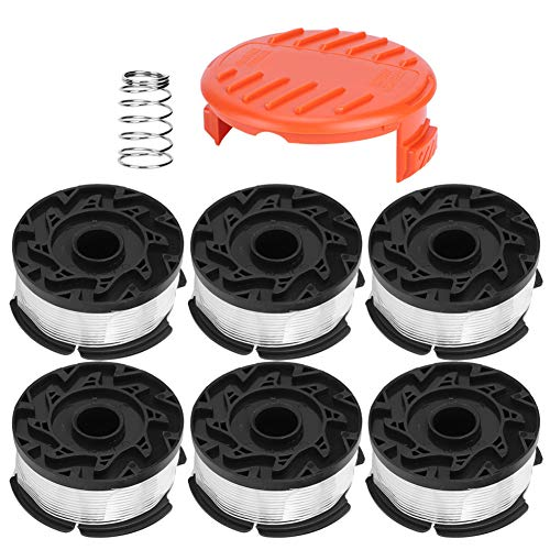 OhhGo Rasenmäher-Spule mit Abdeckung, Ersatzteile, passend für Black + Decker AF100, 6 Stück