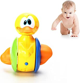Cute Rolling Electric Duck Toy Roly Poly Baby Kid Pre-Kindergarten Toys,Duck Tumbler Musical Instrument Toy,Battery Control,Plastic Novelty Electric Early Educational Toy for Toddlers Baby with Sound