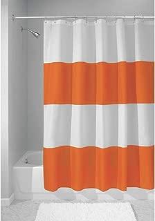orange white shower curtain