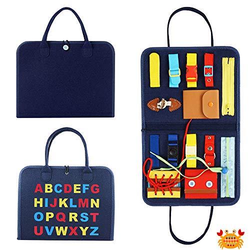 SPECOOL Busy Board para Niños, Aprender a Habilidades Básicas Vestirse,Juguetes educativos y sensoriales Esenciales, Juguetes Educativos para niños pequeños (Azul)