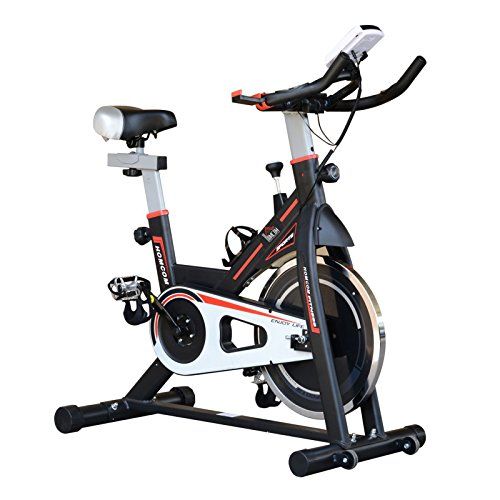 HOMCOM - Bicicleta giratoria de 8 kg con Pantalla LCD, Resistencia Ajustable, Color Negro