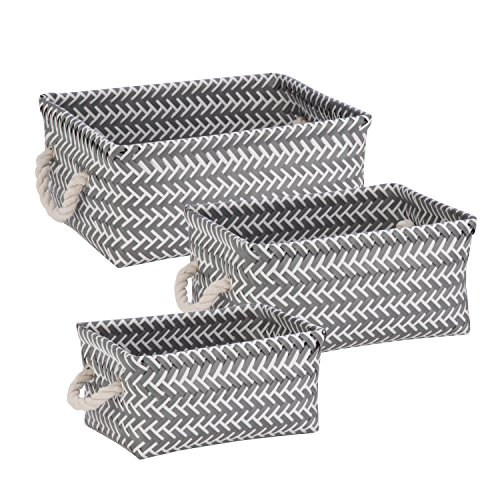 Honey-Can-Do STO-06690 Zig Zag Set of Nesting Baskets with Handles, Set of 3-Pack, Dark Grey